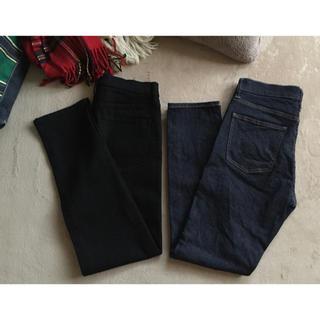 ユニクロ(UNIQLO)のUNIQLO ユニクロ シガレットジーンズ  未着用2本!ネイビー&ブラック(デニム/ジーンズ)