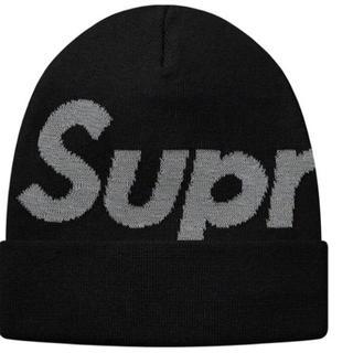 Supreme - 18AW supreme big logo beanie ビーニー ブラック