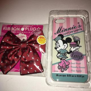 Disney - iPhone5/5sカバー ディズニーミニーウエイトレスと制服リボンクリーナー
