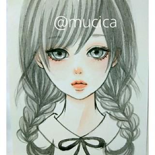 ■ 原画 ■─ 黒髪おさげちゃん ─ 手描きイラスト オリジナル