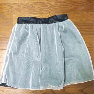 アントマリーズ(Aunt Marie's)のレザー+チュールスカート ラメ 新品タグ付き(ひざ丈スカート)