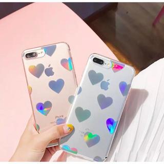 iPhone7 8 【クリア】 ハート ホログラム キラキラ ソフトケース 虹色