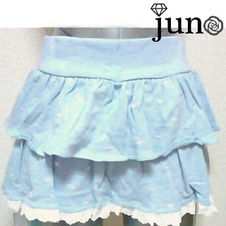 ジェーアイマックス(Ji.maxx)のJimaxx リボン 刺繍 フリル レース ミニスカート 水色 サックス ブルー(ミニスカート)