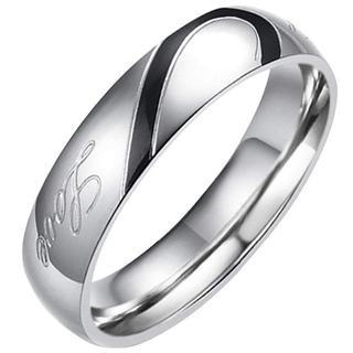 ステンレス指輪 ペア メンズリング Love&ハート モチーフ 刻印入 シンプル(リング(指輪))