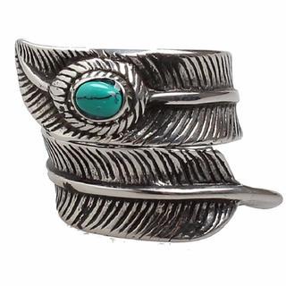 「高級品」天然石ターコイズ付き! チタンステンレスフェザーリング(リング(指輪))