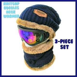 スノーボード ゴーグル スノボ スキー スノー 青 ニット帽 スヌード セット(アクセサリー)