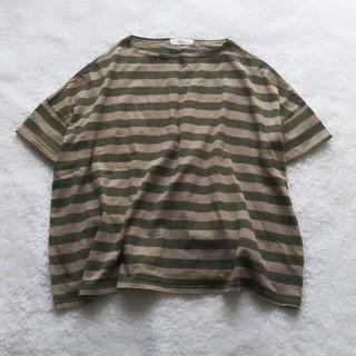ムジルシリョウヒン(MUJI (無印良品))のNARU ナル  40/2天竺ワイドボーダー(Tシャツ(半袖/袖なし))