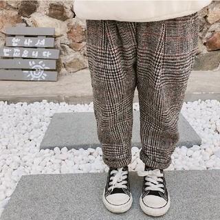 ザラキッズ(ZARA KIDS)の韓国子供服 チェックパンツ 裏起毛 100(パンツ/スパッツ)