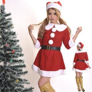 厚みのある襟がかわいいサンタワンピース、サンタ帽子、ベルトのセット(衣装一式)