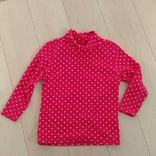 ジーユー(GU)の美品☆キッズ トップス 110cm フリース タートルネック ピンク ドット(Tシャツ/カットソー)