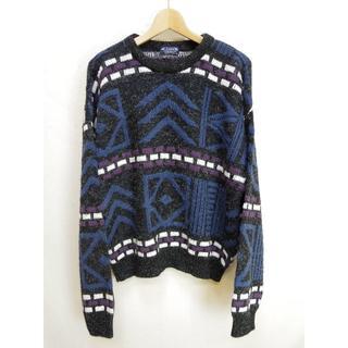 90s 総柄ニットセーター アメリカ製古着ヴィンテージF950(ニット/セーター)