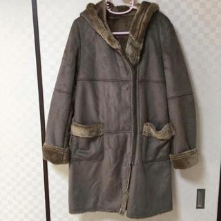 アーモワールカプリス(armoire caprice)の美品 ムートンコート ファー Mサイズ ブラウン フード コート スエード(ムートンコート)