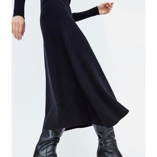 ザラ(ZARA)のZARA Aラインニットスカート 黒(ロングスカート)