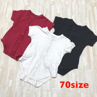 ニシマツヤ(西松屋)のベビー服 ロンパース 肌着 3枚セット 70size(肌着/下着)