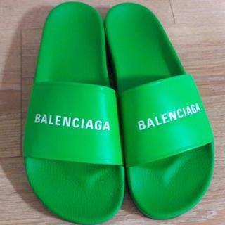 バレンシアガ(Balenciaga)のレア 18ss balenciaga スライダー サンダル 44 新品 緑(サンダル)