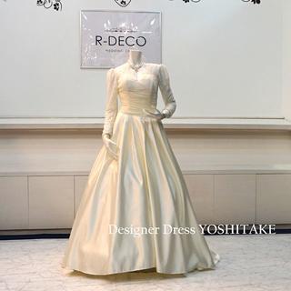 ウエディングドレス(Aラインパニエ無料) ライトイエローAラインドレス(ウェディングドレス)