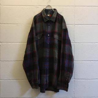 トミーヒルフィガー(TOMMY HILFIGER)の90s 古着 トミーヒルフィガー チェックシャツ ビッグサイズ  XXL(シャツ)