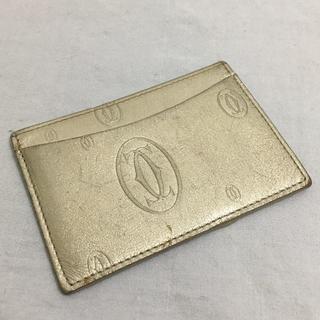 カルティエ(Cartier)の【カルティエ Cartier】 ハッピーバースデー パスケース ゴールド(名刺入れ/定期入れ)