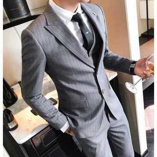 紳士 ストライプ スーツメンズ スーツジャケット セットアップ 着痩せzb307(セットアップ)