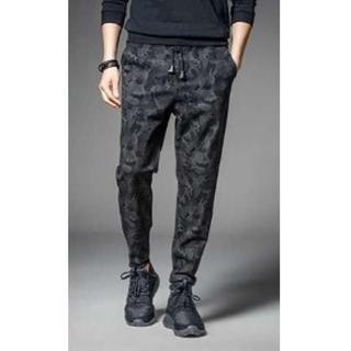 メンズ 迷彩 カモフラ ジョガーパンツ 9分丈 スウェット ブラック XL(その他)