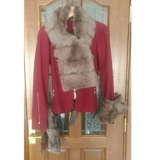 フェンディ(FENDI)のフェンディFendiカシミアウール混羊ファー毛皮襟飾りジャケットコート44(毛皮/ファーコート)