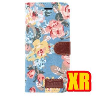 iPhoneXR専用手帳型ケース フラワー   ブルー(iPhoneケース)