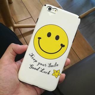 ホワイト iPhone6 iPhone6s スマイル ニコちゃん ハート ソフト(iPhoneケース)