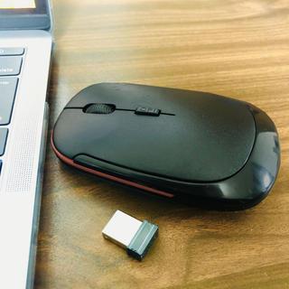 ワイヤレス デザインマウス 薄型 ブラック&オレンジライン(PC周辺機器)