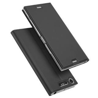 エクスペリア Xperia XZ1 ダークグレー スリム 手帳型ケース(Androidケース)