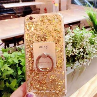 iPhone6 iPhone6s ゴールド リング付き 金箔入りケース(iPhoneケース)