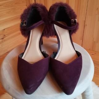ジーユー(GU)のGU ファーパンプス M 即完売品✨紫(ハイヒール/パンプス)