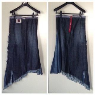 ステファネル(STEFANEL)の【ステファネル/STEFANEL】フレア裾 変形デザインデニムロングスカート(ロングスカート)