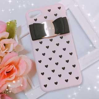 iphone7/8/6/6sケース バックルリボンケース ハートドット ピンク(iPhoneケース)