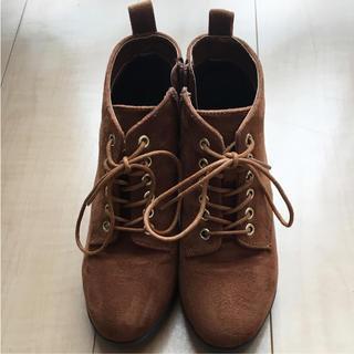 アベイル(Avail)のアベイル ショートブーツ 編み上げブーツ レースアップブーツ  キャメル色(ブーツ)