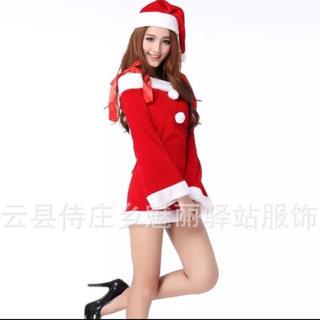 272 クリスマス サンタ 肩リボン ミニワンピ コスプレ(衣装一式)
