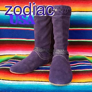 ゾディアック(ZODIAC)のZodiacゾディアック限定purpleスウェードブーツ24.5cmUS7.5(ブーツ)