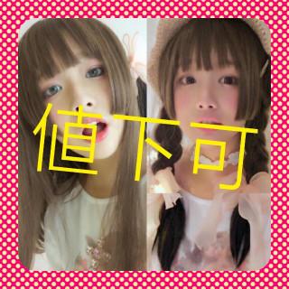 Y004  ❤夢かわ❤ ウィッグ ライトブラウン 姫カット ロングストレート (ロングストレート)