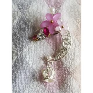 三日月型 花と王冠 キラキラ イヤーカフ(イヤリング)