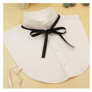 つけ襟 リボン ホワイト フリル ハイネック(つけ襟)