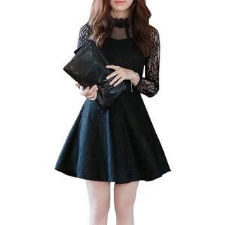 着痩せ レース ドレス ♡ ブラック(ミニドレス)