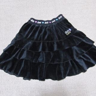 160cm/黒いベロア調3段フリルスカート(スカート)