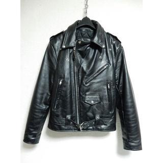 ヴィンテージ!オーチャードブランデッドガーメンツダブルライダース38黒ブラック(ライダースジャケット)