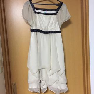 結婚式 二次会 ドレス ワンピース アイボリー ホワイト(ミニドレス)