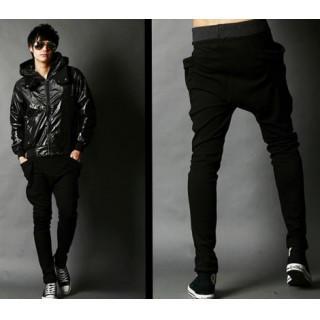 メンズ レディース スエットパンツ シンプル ジョガーパンツ  XL 黒(ワークパンツ/カーゴパンツ)