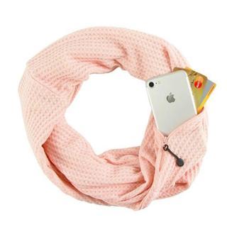 ☆セール中♪隠しジッパーポケット付きループスカーフ 男女兼用★ピンク★(ネックウォーマー)