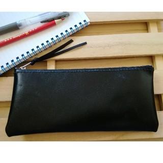 革のペンケース 黒 シンプルDesign(その他)