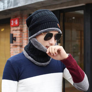 ニット帽 ネックウォーマー キャップ セット 暖かい 裏起毛 防寒 保温 バイク(ネックウォーマー)