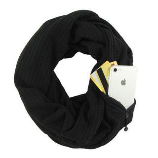 ☆セール中♪隠しジッパーポケット付きループスカーフ 男女兼用★ブラック★(ネックウォーマー)