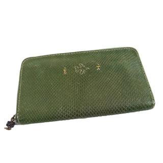 エンリーべグリン(HENRY BEGUELIN)のエンリーベグリン 限定 飛行機刺繍 レザー ラウンドジップ 長財布 緑 グリーン(財布)
