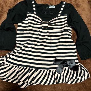 シマムラ(しまむら)のワンピース風 ロンT 女の子 ボーダー リボン 90(Tシャツ/カットソー)